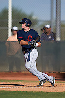 Cleveland Indians Jack Goihl (9) during an instructional league game against the Milwaukee Brewers on October 8, 2015 at the Maryvale Baseball Complex in Maryvale, Arizona.  (Mike Janes/Four Seam Images)