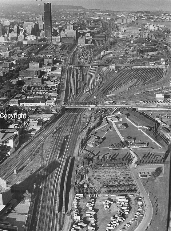 Toronto rail yards west of Union Station lie quiet and deserted after 118;000 railwaymen across Canada went on strike to await settlement of contract dispute.