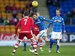 St Johnstone v Aberdeen…22.04.16  McDiarmid Park, Perth<br />Murray Davidson and Kenny McLean<br />Picture by Graeme Hart.<br />Copyright Perthshire Picture Agency<br />Tel: 01738 623350  Mobile: 07990 594431