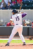Kyle Colligan #15 of the Winston-Salem Dash at bat against the Kinston Indians at BB&T Ballpark on April 17, 2011 in Winston-Salem, North Carolina.   Photo by Brian Westerholt / Four Seam Images