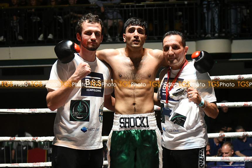Shafqat Khan (green shorts) defeats Jordan Grannum during a Boxing Show at York Hall on 11th September 2021