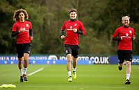 Pictured: Ethan Ampadu, Ben Davies and Jonathan Williams. Monday 02 October 2017<br />Re: Wales football training, ahead of their FIFA Word Cup 2018 qualifier against Georgia, Vale Resort, near Cardiff, Wales, UK.
