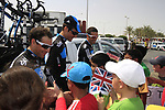 Sky Procycling riders Davide Appollonio (ITA), Michael Barry (CAN) and Juan Antonio Flecha (ESP) meet local school children before the start of the 3rd Stage of the 2012 Tour of Qatar running 146.5km from Dukhan Souq, Dukhan to Al Gharafa, Qatar. 7th February 2012.<br /> (Photo Eoin Clarke/Newsfile)