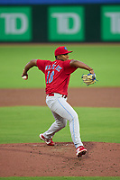 Clearwater Threshers pitcher Jordi Martinez (18) during a game against the Dunedin Blue Jays on June 18, 2021 at TD Ballpark in Dunedin, Florida.  (Mike Janes/Four Seam Images)