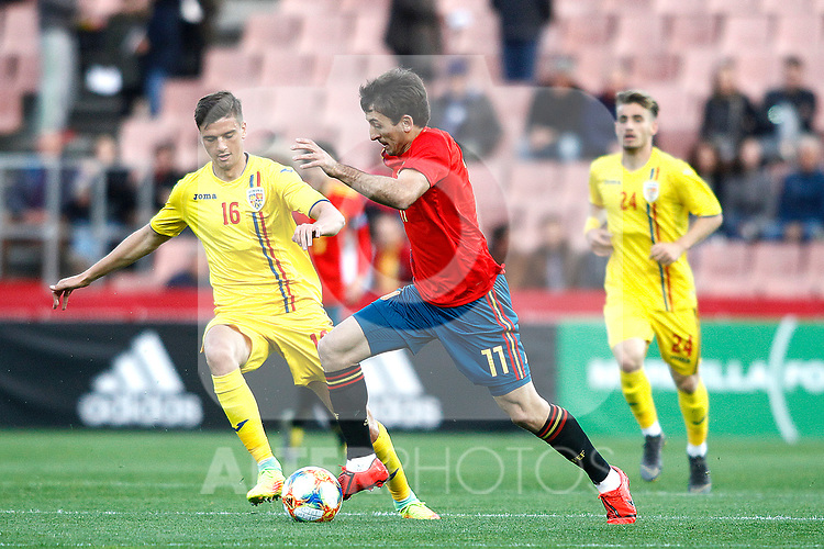 Romania's Nedelcu Dracos and Spain's Mikel Oyarzabal   during the International Friendly match on 21th March, 2019 in Granada, Spain. (ALTERPHOTOS/Alconada)