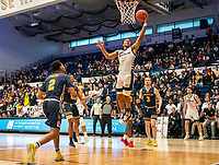 WASHINGTON, DC - FEBRUARY 22: Scott Spencer #2 of La Salle watches a shot by Jameer Nelson Jr. #12 of George Washington during a game between La Salle and George Washington at Charles E Smith Center on February 22, 2020 in Washington, DC.