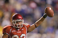 23 December 2006: Utah player Eric Weddle celebrates after rushing for the Ute's last touchdown during the 2006 Bell Helicopters Armed Forces Bowl between The University of Tulsa and The University of Utah at Amon G. Carter Stadium in Fort Worth, TX.