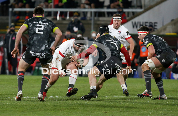 2nd January 2021 | Ulster vs Munster <br /> <br /> Marty Moore is tackled by Chris Cloete during the PRO14 Round 10 clash between Ulster Rugby and Munster Rugby at the Kingspan Stadium, Ravenhill Park, Belfast, Northern Ireland. Photo by John Dickson/Dicksondigital