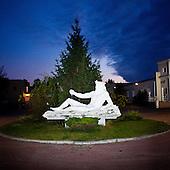 WARSAW, POLAND, NOVEMBER 2011:.Sculpture by Venecia Palace Hotel. It was built in 2008 by Polish businessman Waclaw Gozlinski, who concluded that clients, often watching American class B movies and soap operas, are now seeking for fancy, often kitchy interiors for their parties and gatherings..As Poles are getting richer, this place is now the most popular wedding party spot in Poland, which now needs to be booked over a year in advance..(Photo by Piotr Malecki / Napo Images)..Warszawa, Listopad 2011:.Hotel Venecia Palace. Hotel zbudowal w 2008 roku biznesmen Waclaw Gozlinski, gdy zauwazyl, ze Polacy coraz czesciej preferuja kiczowate wesela w ociekajacych sztukateria wnetrzach jak w Las Vegas lub telewizyjnych operach mydlanych. Hotel jest ogromnym sukcesem, czesto trzeba go rezerwowac z ponad rocznym wyprzedzeniem..Fot: Piotr Malecki / Napo Images