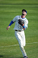 Hartford Yard Goats right fielder David Dahl (1) tracks down a fly ball during the first game of a doubleheader against the Trenton Thunder on June 1, 2016 at Sen. Thomas J. Dodd Memorial Stadium in Norwich, Connecticut.  Trenton defeated Hartford 4-2.  (Mike Janes/Four Seam Images)