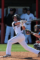 Ryan Raslowsky #2 of the Cal State Northridge Matadors bats against the Rhode Island Rams at Matador Field on March 14, 2012 in Northridge,California. Rhode Island defeated Cal State Northridge 10-8.(Larry Goren/Four Seam Images)