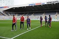 Swansea City players take a look round St. James? Park before kick off during the Barclays Premier League match between Newcastle United and Swansea City played at St. James' Park, Newcastle upon Tyne, on the 16th April 2016