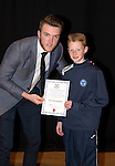 St Johnstone FC Academy Awards Night...06.04.15  Perth Concert Hall<br /> Zander Clark presents a certificate to Josh McLaughlin<br /> Picture by Graeme Hart.<br /> Copyright Perthshire Picture Agency<br /> Tel: 01738 623350  Mobile: 07990 594431