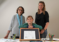 BNPS.co.uk (01202) 558833.<br /> Pic: Zachary Culpin/BNPS<br /> <br /> Pictured: Valya Constable, 7, with his Grandma, Valerie Constable and mother Sasha<br /> <br /> The Royal Academy is to exhibit the first artwork by a Constable in 200 years - in the form of a drawing by a seven-year-old descendant of The Hay Wain painter.<br /> <br /> Valya Constable, the great-great-great-great-grandson of John Constable, has had his sketch of his nan's feet and legs accepted by the prestigious art institution.<br /> <br /> It will form part of a young artists' exhibition and will go on display next week.