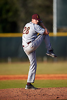 Central Michigan Chippewas relief pitcher Brady Williams (28) delivers a pitch during a game against the Boston College Eagles on March 8, 2016 at North Charlotte Regional Park in Port Charlotte, Florida.  Boston College defeated Central Michigan 9-3.  (Mike Janes/Four Seam Images)