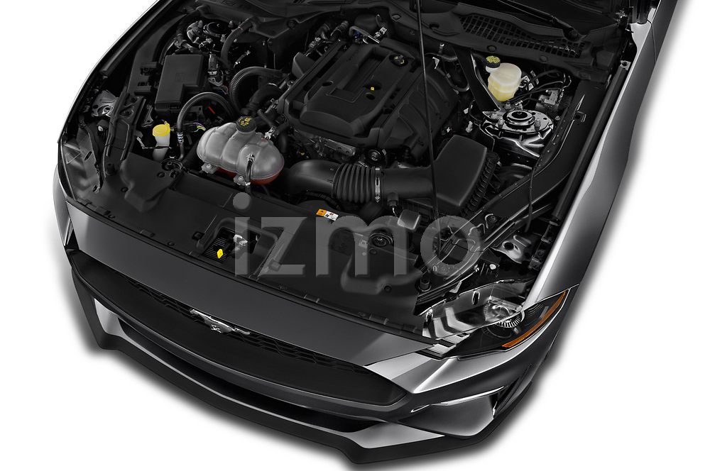 Car stock 2019 Ford Mustang EcoBoost 2 Door Convertible engine high angle detail view