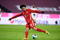 3rd January 2021, Allianz Arean, Munich Germany; Bundesliga Football, Bayern Munich versus FSV Mainz; Leroy Sane (Bayern Munich) shoots the Ball