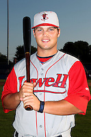 Lowell Spinners First Baseman Miles Head poses for a photo before a game vs. the Batavia Muckdogs at Dwyer Stadium in Batavia, New York July 16, 2010.   Batavia defeated Lowell 5-4 with a walk off RBI single.  Photo By Mike Janes/Four Seam Images