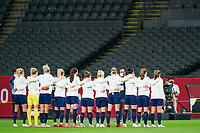 21st July 2021; Sapporo, Japan; Team Great Britain singing the national anthem prior to the womens Olympic Football Tournament Tokyo 2020 match between Great Britain and Chile at Sapporo Dome in Sapporo, Japan. Great Britain won the game by a score of 2-0