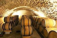 The vaulted barrel aging cellar. Domaine Eric et Joel Joël Durand, Ardeche, Ardèche, France, Europe