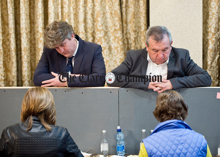 "Michael Mc Namara, Labour, and Michael ""Malty"" Mc Donagh, Fianna Fail,at the count. Photograph by John Kelly."