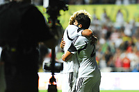 Thursday  01  August  2013<br /> <br /> Pictured:Alejandro Pozuelo celebrates Jose Canas  after scoring  the fourth Swansea City goal <br /> Re:UEFA Europa League Third Qualifying Round -1st Leg Swansea City vs Malmo FF