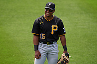 Pittsburgh Pirates outfielder Wilmer Difo (15) during a Major League Spring Training game against the Minnesota Twins on March 16, 2021 at Hammond Stadium in Fort Myers, Florida.  (Mike Janes/Four Seam Images)