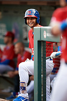 Buffalo Bisons second baseman Tim Lopes (5) in the dugout during a game against the Lehigh Valley IronPigs on June 23, 2018 at Coca-Cola Field in Buffalo, New York.  Lehigh Valley defeated Buffalo 4-1.  (Mike Janes/Four Seam Images)