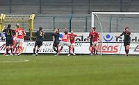 UEFA Women's Under 17 Championship - Second Qualifying round - group 1 : Switzerland - Belgium  : .vreugde bij Zwitserland na de 1-0 van Carmen Pulver..foto DAVID CATRY / Vrouwenteam.be