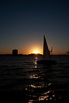 sailboat sailing on the charleston harbor during sunset south carolina
