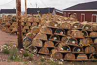 lobster traps, Cape Breton, Cabot Trail, Neil's Harbor, Nova Scotia, NS, Canada, Atlantic Ocean