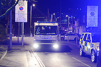Wednesday 11 January 2017<br /> Pictured: The Bomb Squad at the scene<br /> Re: A World War One bomb which was taken into a Neath Port Talbot pub has been removed and people allowed back home.<br /> South Wales Police evacuated residents in Herbert Street, Pontardawe, at about 19:30 GMT on Wednesday after the device was brought into the Pink Geranium pub before being taken outside.<br /> The Army's ordnance disposal team was called to remove it.<br /> Just after midnight on Thursday, police said the bomb had been taken away and the area declared safe.