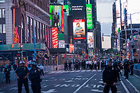 NEW YORK, NEW YORK - JUNE 1: Police officers guard and blocked the streets in Times Square on June 1, 2020 in New York. The protests spread across the country in at least 30 cities across the United States, over the death of unarmed black man George Floyd at the hands of a police officer, this is the latest death in a series of police deaths of black Americans. Today is the first night of a curfew in New York City (Photo by Pablo Monsalve / VIEWpress via Getty Images)