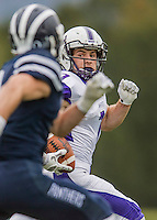 8 October 2016: Amherst College Purple & White Wide Receiver Devin Boehm, a Senior from Wilmette, IL, scores a touchdown during game action against the Middlebury College Panthers at Alumni Stadium in Middlebury, Vermont. The Panthers edged out the Purple & While 27-26. Mandatory Credit: Ed Wolfstein Photo *** RAW (NEF) Image File Available ***