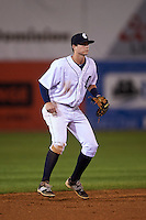 Connecticut Tigers shortstop Keaton Jones (17) during the first game of a doubleheader against the Brooklyn Cyclones on September 2, 2015 at Senator Thomas J. Dodd Memorial Stadium in Norwich, Connecticut.  Brooklyn defeated Connecticut 7-1.  (Mike Janes/Four Seam Images)