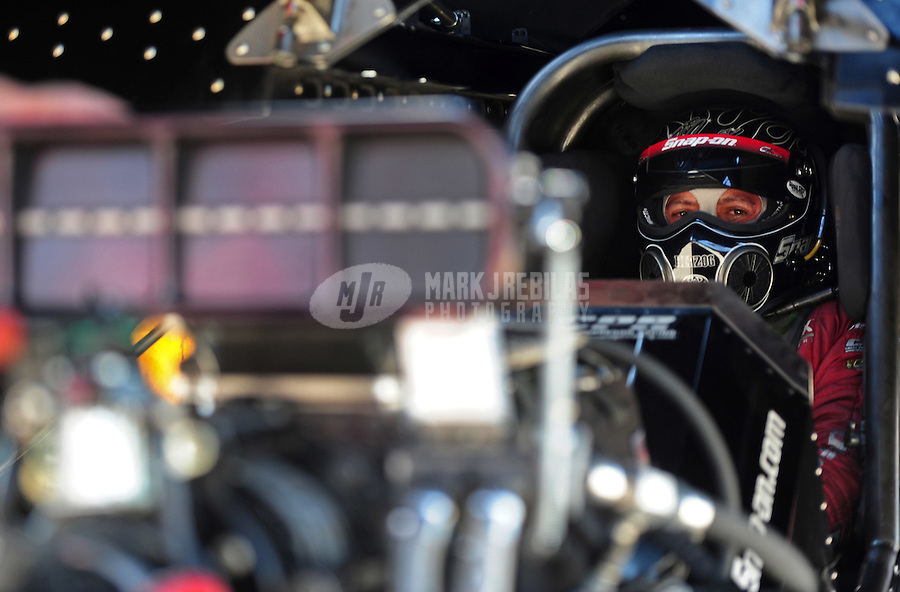Sept. 25, 2011; Ennis, TX, USA: NHRA funny car driver Cruz Pedregon during the Fall Nationals at the Texas Motorplex. Mandatory Credit: Mark J. Rebilas-