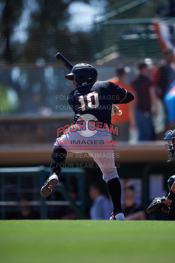 Modesto Nuts first baseman Eugene Helder (10) during a California League game against the Inland Empire 66ers on April 10, 2019 at San Manuel Stadium in San Bernardino, California. Inland Empire defeated Modesto 5-4 in 13 innings. (Zachary Lucy/Four Seam Images)