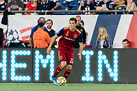 FOXBOROUGH, MA - SEPTEMBER 21: Aaron Herrera #22 of Real Salt Lake looks to pass during a game between Real Salt Lake and New England Revolution at Gillette Stadium on September 21, 2019 in Foxborough, Massachusetts.