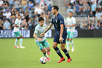 KANSAS CITY, KS - AUGUST 10: Roberto Puncec #4 Sporting KC with the ball during a game between Club Leon and Sporting Kansas City at Children's Mercy Park on August 10, 2021 in Kansas City, Kansas.