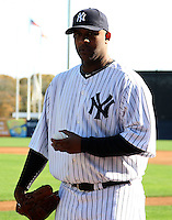 February 25, 2010:  Pitcher CC Sabathia of the New York Yankees during poses during photo day at Legends Field in Tampa, FL.  Photo By Mike Janes/Four Seam Images