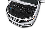 Car Stock 2018 Honda Pilot Touring 5 Door Suv Engine high angle detail view