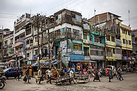 A busy street scene in Jaigaon, a border point between India and Bhutan, which is one of the main smuggling routes for tiger parts trafficked between India and China.
