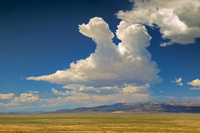 Beginning thunderstorm clouds. Near Elko, Nevada