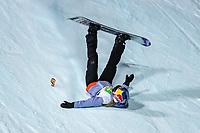 9th January 2021; Kreischberg, Murau, Austria. FIS World Cup Womens Snowboarding Big Air;  3rd placed Anna Gasser of Austria falls during the final of womens Snowboard Big Air Competition