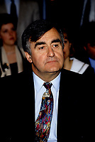 "Montreal (Qc) CANADA - File Photo - May 1996 -<br /> <br /> Lucien Bouchard,  Leader Parti Quebecois (from Jan 29, 1996 to March 2, 2001). seen in a May 1996 file photo <br /> After the Yes side lost the 1995 referendum, Parizeau resigned as Quebec premier. Bouchard resigned his seat in Parliament in 1996, and became the leader of the Parti QuÈbÈcois and premier of Quebec.<br /> <br /> On the matter of sovereignty, while in office, he stated that no new referendum would be held, at least for the time being. A main concern of the Bouchard government, considered part of the necessary conditions gagnantes (""winning conditions"" for the feasibility of a new referendum on sovereignty), was economic recovery through the achievement of ""zero deficit"". Long-term Keynesian policies resulting from the ""Quebec model"", developed by both PQ governments in the past and the previous Liberal government had left a substantial deficit in the provincial budget.<br /> <br /> Bouchard retired from politics in 2001, and was replaced as Quebec premier by Bernard Landry."
