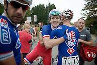 Arnaud Démare (FRA/FDJ.fr) congratulated by teammates after winning the first stage<br /> <br /> stage 1<br /> Euro Metropole Tour 2014 (former Franco-Belge)