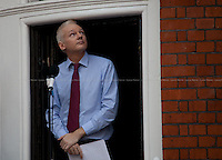 """London, 19/08/2012. Today, Julian Assange made his first speech after two months (19th June 2012) he has been living as a refugee in the Ecuadorian Embassy in London.<br /> <br /> For more pictures on this event click here: <a href= """"http://bit.ly/Pqmp6X""""> http://bit.ly/Pqmp6X</a>"""