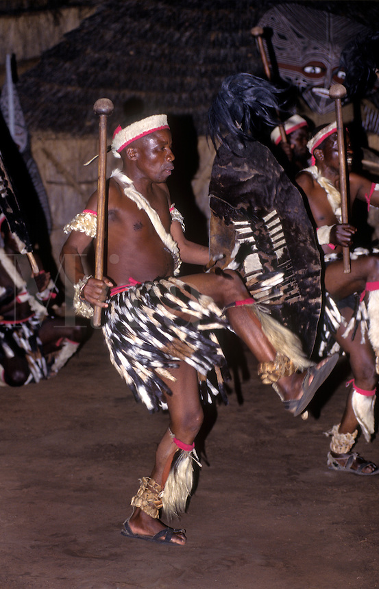 An NDEBELE TRIBAL DANCER displays his fierceness & uses animal skins in his costume - ZIMBABWE
