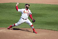 Jason Motte (32) of the St. Louis Cardinals delivers a pitch during a rehab game with the Springfield Cardinals against the Tulsa Drillers at Hammons Field on May 4, 2014 in Springfield, Missouri. (David Welker/Four Seam Images)