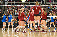 STANFORD, CA - NOVEMBER 17: Stanford, CA - November 17, 2019: Holly Campbell, Kate Formico, Meghan McClure, Sidney Wilson, Jenna Gray, Kathryn Plummer at Maples Pavilion. #4 Stanford Cardinal defeated UCLA in straight sets in a match honoring neurodiversity. during a game between UCLA and Stanford Volleyball W at Maples Pavilion on November 17, 2019 in Stanford, California.